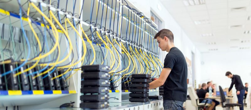 Networking hardware test bench at modern technology